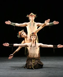 Sydney Skybetter, Philip Montana, and Bryan Campbell performing in The Voyage of the Húi Corra (2008). Photo by Tony Dougherty.